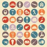 L'ensemble de réparation de maison usine des icônes illustration libre de droits
