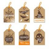 L'ensemble de rétro cadeau de Halloween étiquette la texture de carton illustration de vecteur