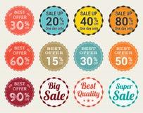 L'ensemble de rétro label de bannière d'étiquette de vente au rabais et de garantie de promotion badge l'autocollant Photographie stock