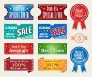 L'ensemble de rétro vente au rabais de promotion et la garantie étiquettent la bannière Images stock