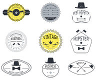 L'ensemble de rétro vintage badges, des rubans et marque le hippie Photos stock