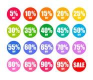 L'ensemble de remise ronde étiquette en couleurs d'arc-en-ciel Offre de remise de vacances Vecteur illustration libre de droits