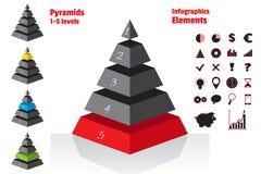 L'ensemble de rouge de diagrammes symétriques isometry de pyramide, diagram 5 niveaux Infographics d'éléments Vecteur Photo libre de droits