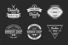 L'ensemble de salon de station thermale de logo et de beauté de salon de coiffure de vintage badges illustration de vecteur