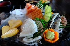 L'ensemble de sashimi incluent le poisson frais, le calmar et les fruits de mer Images libres de droits