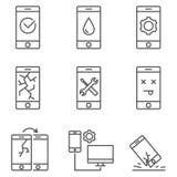 L'ensemble de service mobile et le repare rayent des icônes de vecteur illustration de vecteur