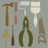 L'ensemble de silhouette d'outils martèlent, des pinces, un couteau de mastic, scie, tournevis Image stock