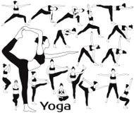L'ensemble de silhouettes de fille faisant le yoga s'exerce dans différentes poses Photo libre de droits