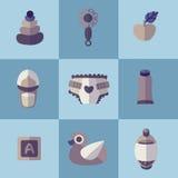 L'ensemble de soin plat de bébé objecte des icônes de vecteur Photos libres de droits