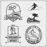 L'ensemble de sports d'hiver symbolise, des labels et des éléments de conception Ski, incliné, slalom Images libres de droits