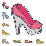L'ensemble de style tiré par la main de vecteur plat de conception des chaussures des femmes de cuir a coloré l'illustration de c illustration de vecteur