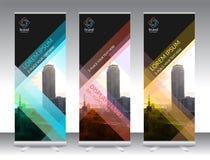 L'ensemble de support abstrait vertical de bannière d'affichage ou enroulent la conception illustration stock