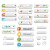 L'ensemble de symbole blanc emmêlé réaliste de boutons de Web de couleur de vecteur est illustration libre de droits