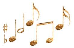 L'ensemble de symboles de note musicale de configuration d'or a isolé illustration de vecteur