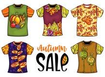 L'ensemble de T-shirts de calibres pour les hommes et la femme avec l'automne conçoivent illustration stock