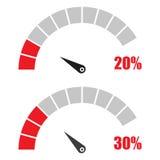 L'ensemble de tachymètre ou de mètre de évaluation signe l'élément infographic de mesure avec les pour cent 20, 30 Photo stock