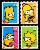Timbres-poste d'émission de TV de Simpsons Photo libre de droits
