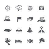 L'ensemble de tourisme et le voyage tracent l'illustratio de vecteur d'icône de navigation Images libres de droits