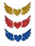 L'ensemble de trois coeurs abstraits avec des ailes miroitent sur le fond blanc Photo libre de droits