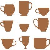 L'ensemble de variété silhouette des tasses Photos stock