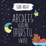 L'ensemble de vecteur avec les lettres écrites par main d'ABC a servi sur un fond coloré de nuit de bande dessinée Vecteur illustration libre de droits