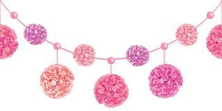L'ensemble de vecteur de balancer le papier rose Pom Poms de fête d'anniversaire et les perles ont placé le modèle sans couture h Illustration de Vecteur