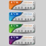 L'ensemble de vecteur de bannières transparentes colorées avec le symbole différent illustration stock