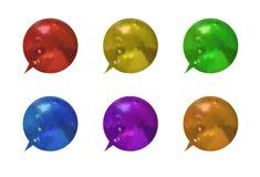 L'ensemble de vecteur de bulles texturisées métalliques colorées de l'entretien 3D, différents cadres de la parole de couleurs a  illustration libre de droits