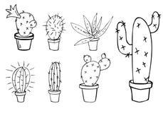 L'ensemble de vecteur de cactus à la maison et l'aloès dans le pot gribouillent le croquis dessiné Photos libres de droits