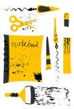 L'ensemble de vecteur de chancellerie dans des couleurs jaunes et noires avec l'encre éclabousse illustration libre de droits