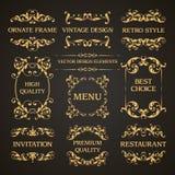 L'ensemble de vecteur de décoration ornementale décorative élégante de page de vintage encadre les éléments calligraphiques de co Image stock