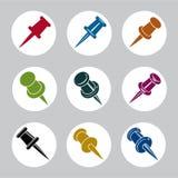 L'ensemble de vecteur d'icônes de goupilles de poussée, dirigent des symboles simplistes Images libres de droits