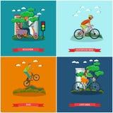 L'ensemble de vecteur de bicyclette dactylographie des affiches de concept dans le style plat Photos stock