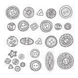L'ensemble de vecteur de boutons de tissu dans le style différent de boho conçoit avec Image stock