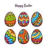L'ensemble de vecteur de couleur de bande dessinée eggs pour Pâques Photo stock