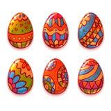 L'ensemble de vecteur de couleur de bande dessinée eggs pour Pâques Photo libre de droits