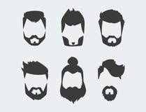 L'ensemble de vecteur de coupe de cheveux faciale masculine de barbe de rétro de coiffure de hippie de moustache rasage de vintag Photographie stock libre de droits