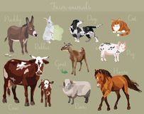 L'ensemble de vecteur de différents animaux de ferme dirigent l'illustration Photos stock