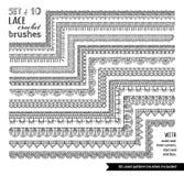 L'ensemble de vecteur de 10 griffonnages lacent les brosses sans couture de tricotage Photographie stock