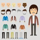 L'ensemble de vecteur de habillent le constructeur avec différents hommes dans à la mode illustration de vecteur