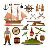 L'ensemble de vecteur de mer pirate des objets, des icônes et des éléments de conception dans le style plat Bateau de pirate, arm Images stock