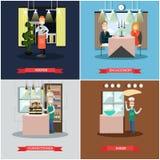 L'ensemble de vecteur de personnes de restaurant ajustent des affiches dans le style plat Image stock