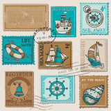 Ensemble de vecteur de rétros timbres de COURRIER de MER Photo stock