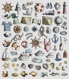L'ensemble de vecteur de griffonnage marin et nautique de la bande dessinée 3d objecte illustration libre de droits