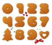 L'ensemble de vecteur numérote dans la forme des pains d'épice de Noël avec des éléments de conception Image libre de droits