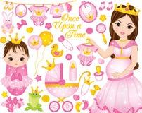 L'ensemble de vecteur pour la douche de bébé avec la femme enceinte et le bébé s'habille comme princesses illustration stock
