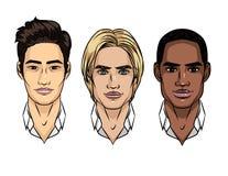 L'ensemble de vecteur de ` s des hommes fait face à différentes nationalités illustration libre de droits