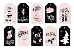 L'ensemble de vecteur de salutation de Noël étiquette avec des expressions de lettrage de main et des éléments et des caractères  illustration libre de droits