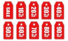 L'ensemble de vente étiquette avec la vente jusqu'à 10 - 90 pour cent Illustration de vecteur illustration stock