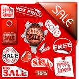 L'ensemble de vente étiquette, des étiquettes, estampilles, collants illustration stock